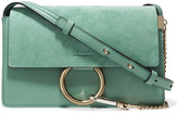 Chloé Faye Small Suede And Leather Shoulder Bag - Mint