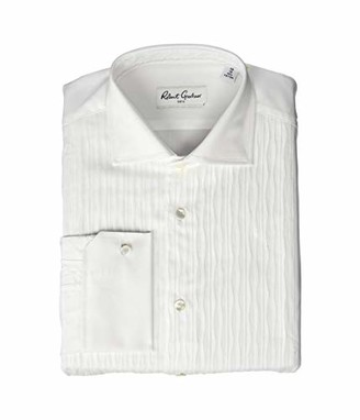 Robert Graham Mens Sir FC Tuxedo Long Sleeve Dress Shirt White 17.5 (XL)