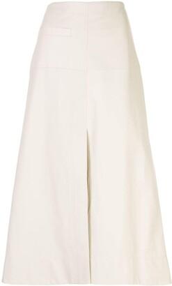 3.1 Phillip Lim leather A-line midi skirt