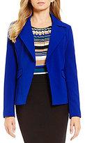 Calvin Klein Petites Scuba Crepe Open Front Notch Collar Jacket