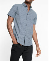 Express fitted micro floral print short sleeve cotton shirt