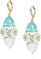 """Anne Klein St. Barths"""" Gold-Tone and Crystal Drama Cluster Drop Earrings"""