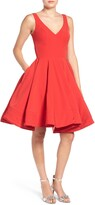 Mac Duggal Double V-Neck Fit & Flare Party Dress