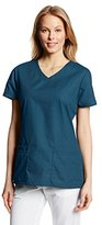 Dickies Women's EDS Signature V-Neck Top with Multiple Patch Pockets