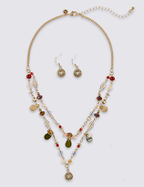 M&S Collection Charmy Beaded Necklace & Earrings Set