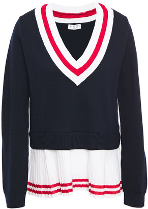 Claudie Pierlot Crepe De Chine-paneled Striped Wool-blend Sweater