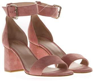 RED Valentino 60mm Chunky Heel Rose Suede Sandals