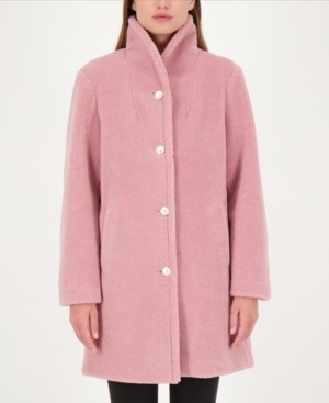 Kate Spade Pearl-Button Teddy Faux-Fur Coat