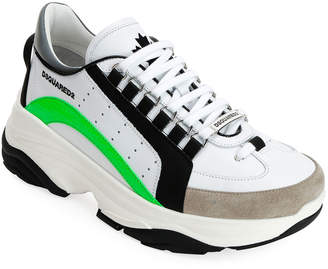 DSQUARED2 Men's Colorblock Chunky Runner Sneakers, White Pattern