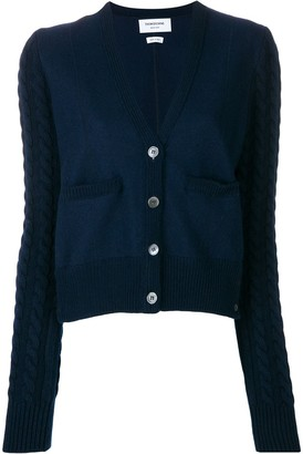 Thom Browne Cable Knit V-Neck Cardigan