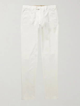 Loro Piana Slim-Fit Washed Cotton-Blend Trousers