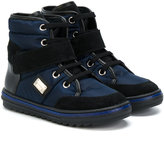 Dolce & Gabbana touch strap detail padded hi-tops - kids - Calf Leather/Leather/Nylon/rubber - 27