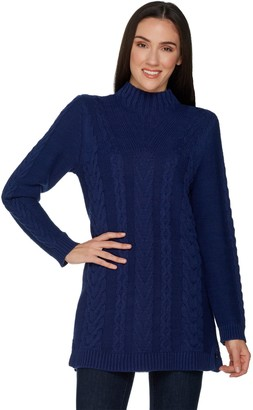 Denim & Co. Petite Mock Neck Cable Knit Tunic Sweater