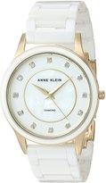 Anne Klein Women's AK/2392GPWT Analog Display Japanese Quartz White Watch