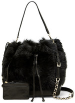 Alice + Olivia Genuine Sheep Shearling Bucket Bag