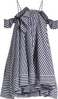 MSGM Open-shoulder striped cotton dress