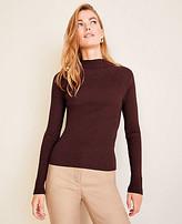 Ann Taylor Shimmer Ribbed Mock Neck Sweater