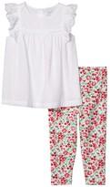 Polo Ralph Lauren Eyelet Top Floral Leggings (Infant) (White) Girl's Active Sets