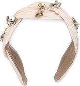 Maison Michel rhinestone embellished headband - women - Leather/Polyester/Crystal - One Size