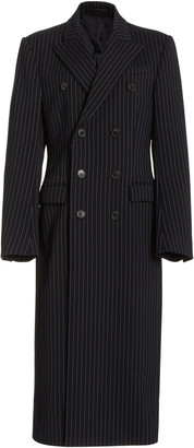 Wardrobe NYC Double-Breasted Striped Wool Coat