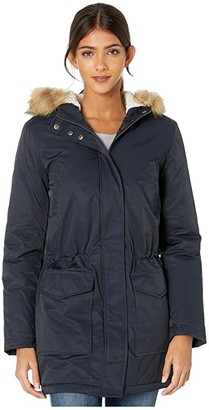Levi's Coated Cotton Parka with Sherpa and Faux Fur Hood (Navy) Women's Clothing