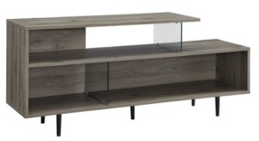 Walker Edison Asymmetrical Wood and Glass Console