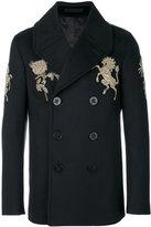 Alexander McQueen embroidered peacoat - men - Cotton/Viscose/Cashmere/Virgin Wool - 48