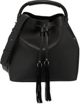 French Connection Alana Faux-Leather Drawstring Hobo Bag, Black