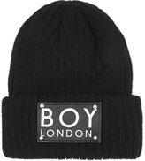 Boy London Logo Patch Ribbed Beanie