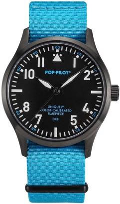 Pop Pilot Pop-Pilot Unisex DXB Quartz Watch with Quartz Dial Analogue Display and Blue Nylon Strap