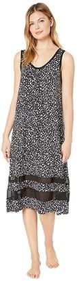 Donna Karan Modal Spandex Jersey 44 Gown (Black Animal) Women's Pajama