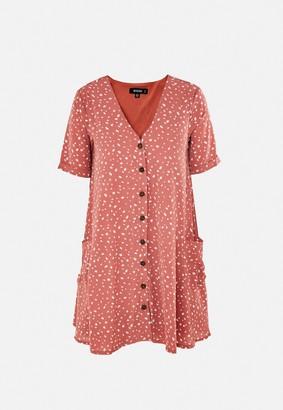Missguided Blush Dalmatian Print Pocket Button Smock Dress