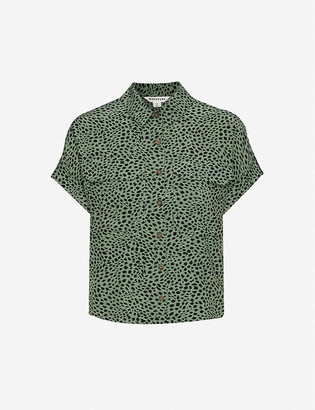 Whistles Animal-print loose-fit woven shirt