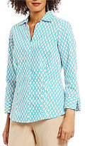 Investments 3/4 Sleeve Y-Neck Button Front Shirt