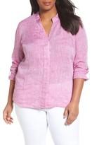 Nic+Zoe Plus Size Women's Drifty Woven Linen Shirt