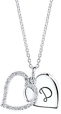 JCPenney Silver-Plated Initial D Crystal Heart Pendant