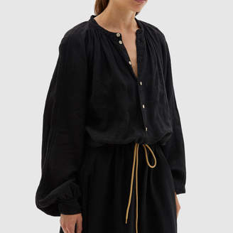 Bassike Linen Gathered-Waist Dress