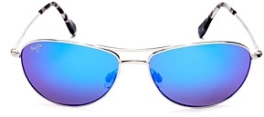 Maui Jim Unisex Baby Beach Polarized Brow Bar Aviator Sunglasses, 56mm