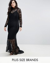 Club L Plus Allover Lace Fishtail Maxi Dress
