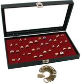 FindingKing Glass Top Jewelry Red 72 Ring Display Case Box Bonus