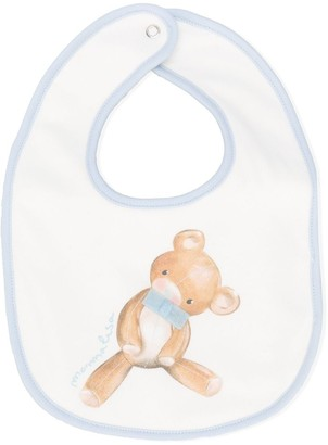 MonnaLisa Teddy Bear Logo Print Bib