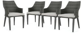 Bronx Beaumys Patio Dining Chair with Cushions Ivy Frame Color / Cushion Color: Gray Frame / Cream Cushion