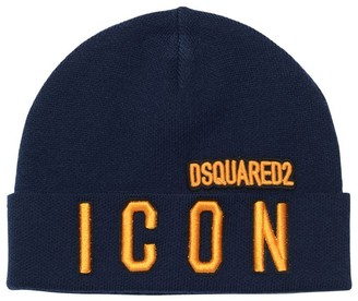 DSQUARED2 Icon Embroidered Wool Blend Hat