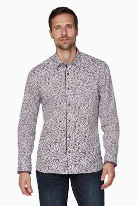 Jeff Banks Mens Red Floral Design Print Tailored Fit Casual Shirt - Red