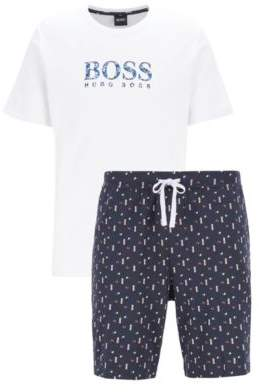 BOSS Pyjama set in pure cotton with printed shorts