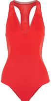 Stella McCartney Cutout Neoprene And Mesh Swimsuit - Tomato red
