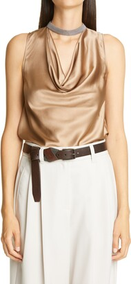 Brunello Cucinelli Monili Collar Sleeveless Stretch Silk Top