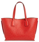 Loewe Logo Embossed Calfskin Leather Shopper - Red