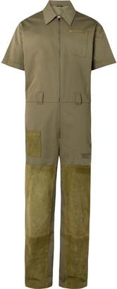 Fendi Suede-Panelled Cotton-Gabardine Jumpsuit