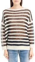 Saint Laurent Open Knit Mohair Blend Sweater